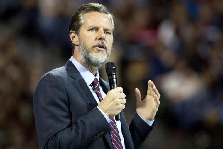 Jerry Falwell Jr., president of Liberty University speaks during a Liberty University Convocation in Lynchburg, Va., on Sept. 14, 2015. (Photo by Andrew Harrer/Bloomberg/Getty)