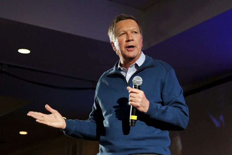 Republican presidential candidate and Ohio Governor John Kasich speaks at the New Hampshire GOP's FITN Presidential town hall in Nashua, N.H. Jan. 23, 2016. (Photo by Mary Schwalm/Reuters)