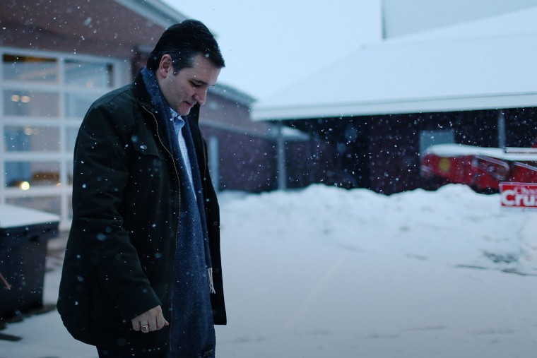 Republican presidential candidate Sen. Ted Cruz (R-TX) walks to his vehicle after a campaign event at the Heartland Acres Agribition Center on Jan. 25, 2016 in Independence, Iowa. (Photo by Joe Raedle/Getty)