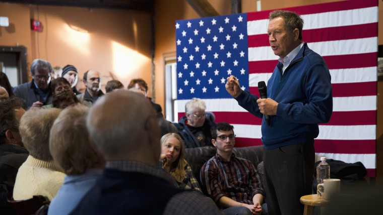 Republican presidential candidate, Ohio Gov. John Kasich speaks during a campaign stop, Jan. 26, 2016, in New Boston, N.H. (Photo by Matt Rourke/AP)