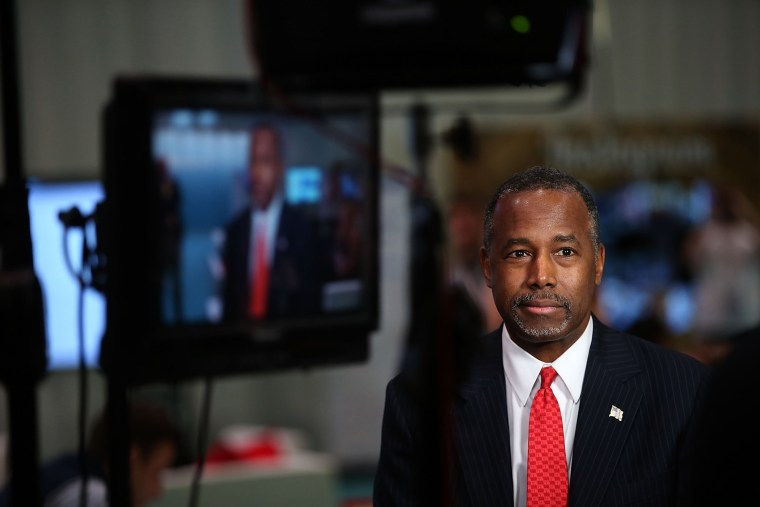 Republican presidential candidate Ben Carson prepares for a television interview before the start of the CNN republican presidential debate at The Venetian Las Vegas on Dec. 15, 2015 in Las Vegas, Nev. (Photo by Justin Sullivan/Getty)