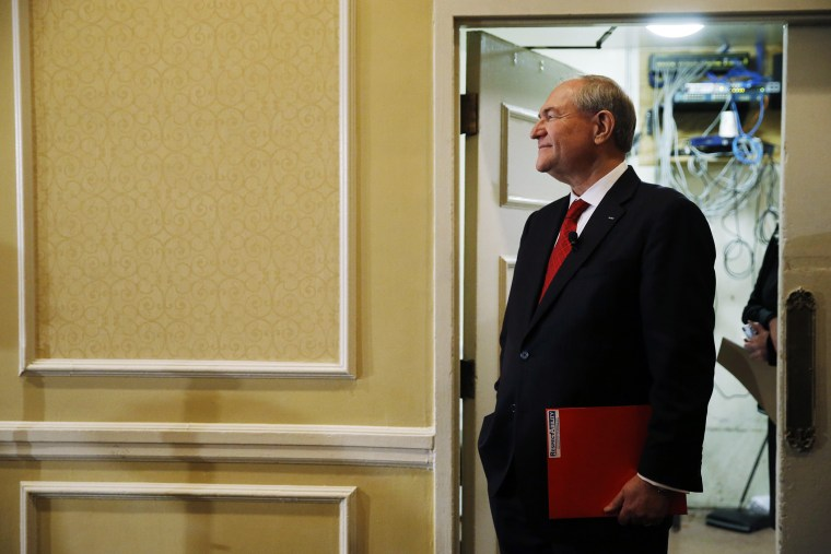 Republican presidential candidate, former Virginia Gov. Jim Gilmore waits to speak, Jan. 23, 2016, at the New Hampshire Republican Party summit in Nashua, N.H. (Photo by Matt Rourke/AP)