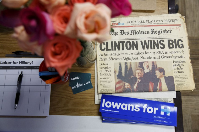 A 1992 Des Moines Register newspaper President Bill Clinton's win is displayed during an event in support of Hillary Clinton at the Clinton campaign office in Ames, Ia., Jan. 26, 2016. (Photo by Patrick T. Fallon/Bloomberg/Getty)