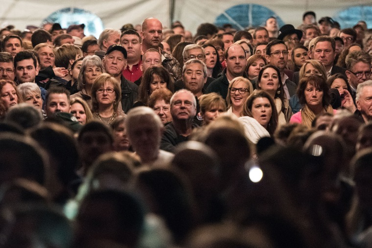 An overflow crowd of people wait for Donald Trump at a campaign rally Jan. 27, 2016 in Gilbert, S.C. (Photo by Sean Rayford/Getty)