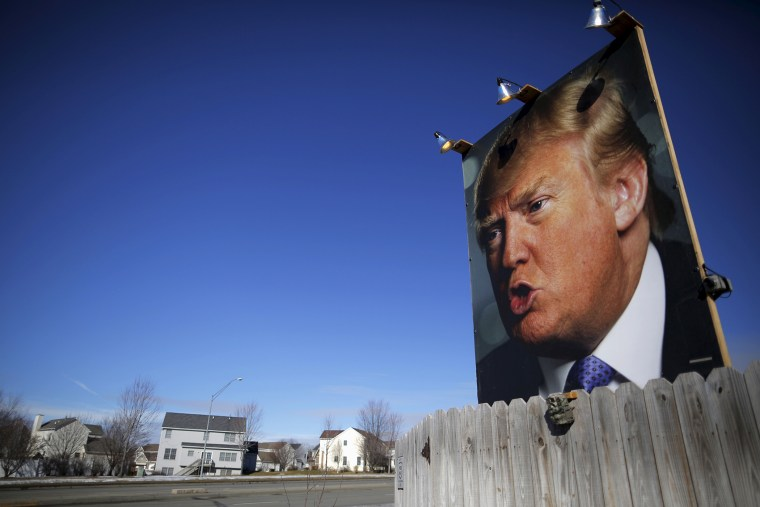 A large poster of Republican presidential candidate Donald Trump is displayed in a residential neighborhood in West Des Moines, Iowa, Jan. 28, 2016. (Photo by Brian Snyder/Reuters)