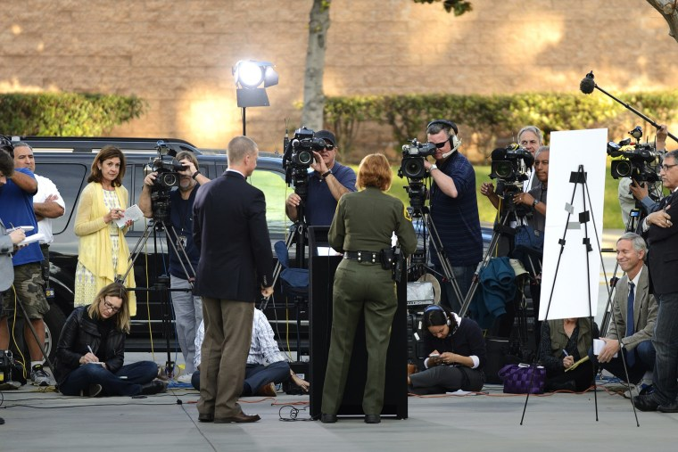 Orange County Sheriff Sandra Hutchens speaks about three inmates who escaped the Central Men's Jail during a press conference in Santa Ana, Calif., Jan. 27, 2016. (Photo by Jeff Gritchen/The Orange County Register/AP)