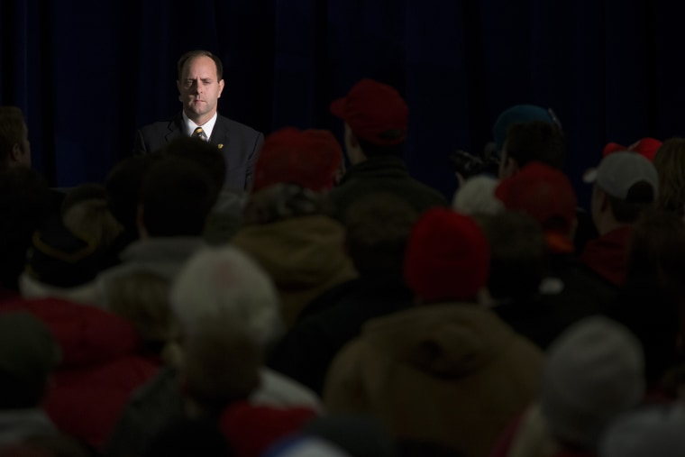A Secret Service agent looks on as Republican presidential candidate Donald Trump speaks at Hansen Agriculture Student Learning Center at Iowa State University on Jan. 19, 2016 in Ames, Ia. (Photo by Aaron P. Bernstein/Getty)