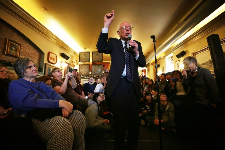 Democratic presidential candidate Sen. Bernie Sanders (I-VT) speaks to voters during a campaign event at Cafe Dodici Jan. 29, 2016 in Washington, Iowa. (Photo by Alex Wong/Getty)