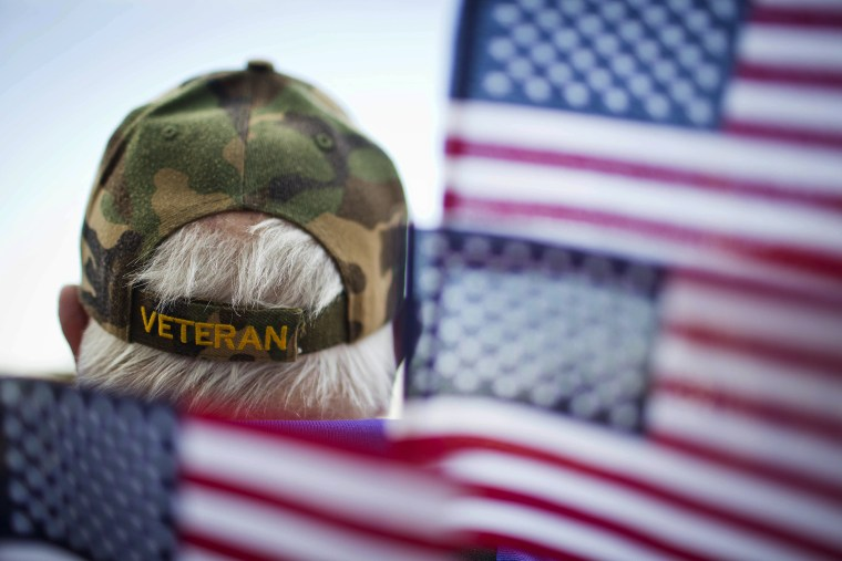 A veterans is surrounded by flags at a Veterans Day parade in Montgomery, Ala. (Photo by Brynn Anderson/AP)
