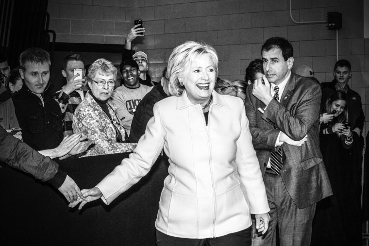 Hillary Clinton arrives at her rally in Des Moines, Ia., Jan. 29, 2016. (Photo by Mark Peterson/Redux for MSNBC)