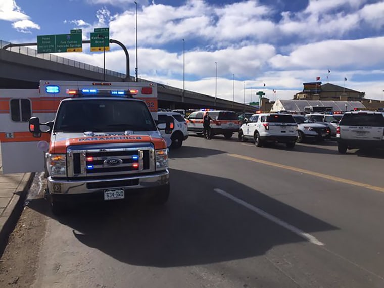 Emergency and police vehicles are seen outside the Denver Coliseum in this picture released by the Denver Police Department, in Denver, Colo., Jan. 30, 2016. (Photo by Denver Police Department/Handout/Reuters)