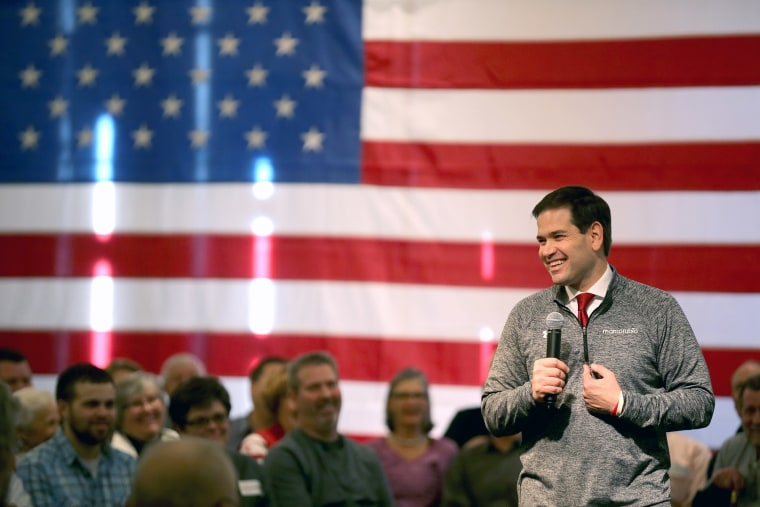 Republican presidential candidate Sen. Marco Rubio (R-FL) speaks to guests and supporters during a campaign stop at Bev's On The River Restaurant on Jan. 30, 2016 in Sioux City, Ia. (Photo by Christopher Furlong/Getty)