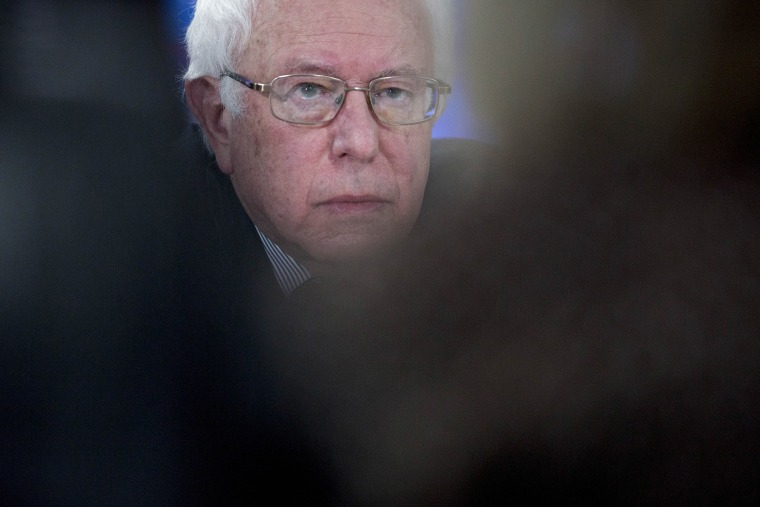 Senator Bernie Sanders, an independent from Vermont and 2016 Democratic presidential candidate, listens to a question during a Bloomberg Politics interview in Des Moines, Ia., Jan. 28, 2016. (Photo by Andrew Harrer/Bloomberg/Getty)
