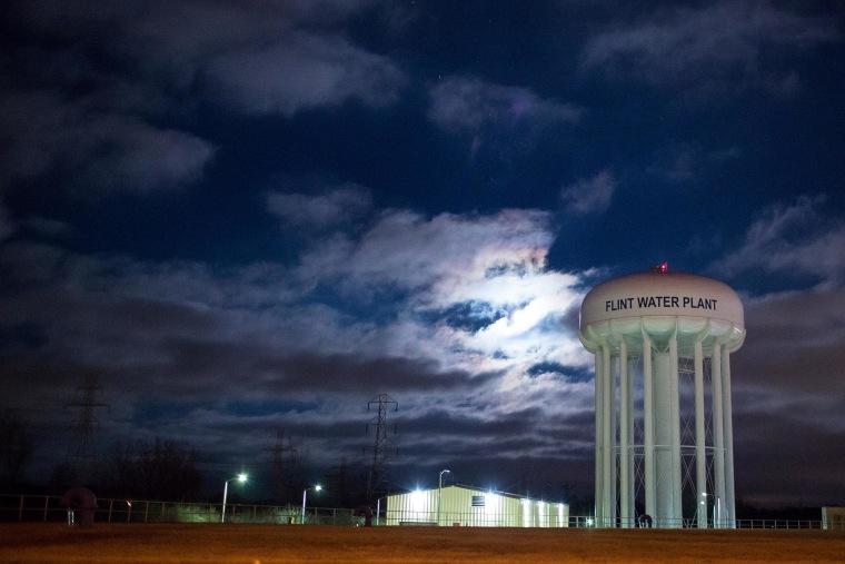 The City of Flint Water Plant is illuminated by moonlight on Jan. 23, 2016 in Flint, Mich. (Photo by Brett Carlsen/Getty)