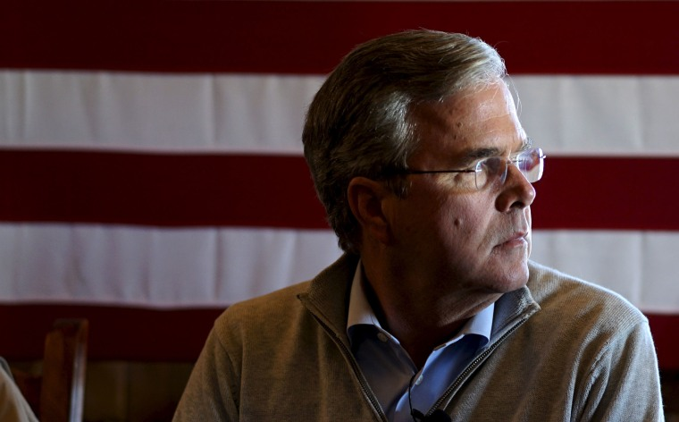 U.S. Republican presidential candidate Jeb Bush waits to speak at a campaign event at the Greasewood Flats Ranch in Carroll, Ia. Jan. 29, 2016. (Photo by Rick Wilking/Reuters)