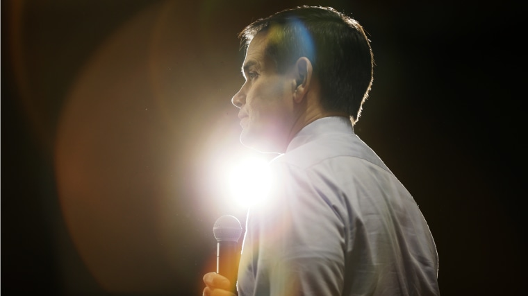 Republican presidential candidate Sen. Marco Rubio, R-Fla., speaks during a campaign rally on Jan. 31, 2016, at the University of Northern Iowa in Cedar Falls, Iowa. (Photo by Charlie Neibergall/AP)