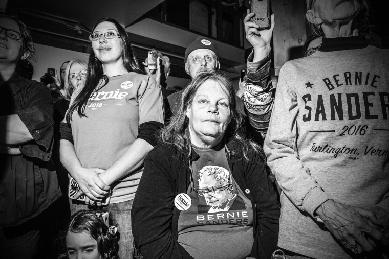 Supporters of Sen. Bernie Sanders at a rally for campaign workers in Ottumwa, Iowa, Jan, 28, 2016. (Photo by Mark Peterson/Redux for MSNBC)