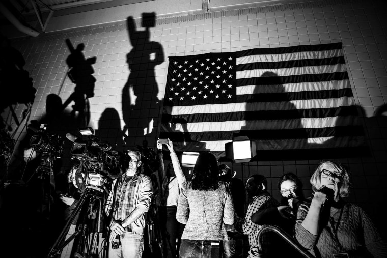 Reporters set up at a Donald Trump town hall event in Council Bluffs, Ia., Jan. 31, 2016. (Photo by Mark Peterson/Redux for MSNBC)
