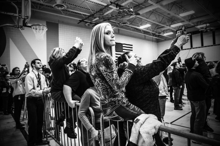 Donald Trump holds a town hall in Council Bluffs, Ia., Jan. 31, 2016. (Photo by Mark Peterson/Redux for MSNBC)