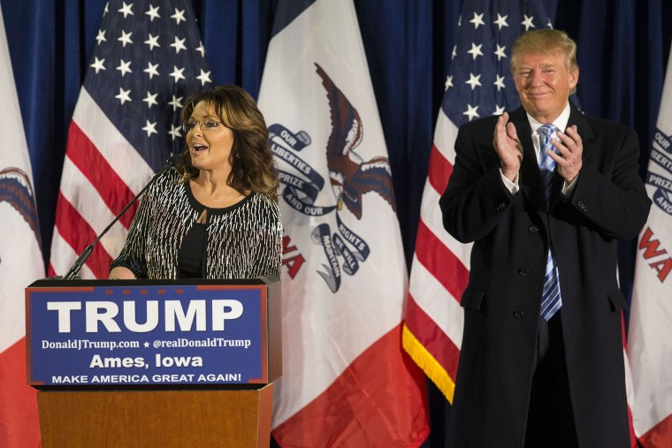 Former Alaska Gov. Sarah Palin speaks as she endorses Republican presidential candidate Donald Trump at a campaign stop, Jan. 19, 2016, in Ames, Ia. (Photo By Al Drago/CQ Roll Call/Getty)