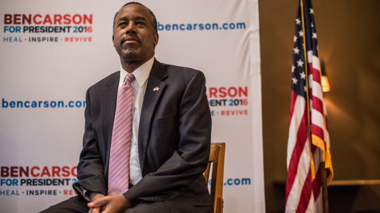 Republican presidential candidate Ben Carson speaks at a campaign event at Fireside Pub and Steak House on Jan. 31, 2016 in Manchester, Ia. (Photo by Brendan Hoffman/Getty)