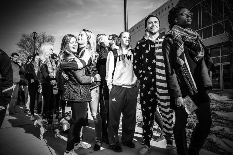 Supports wait to attend a Hillary Clinton rally in Des Moines, Iowa, Jan. 29, 2016. (Photo by Mark Peterson/Redux for MSNBC)