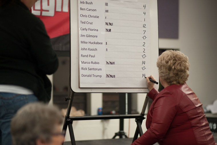 A volunteer tallies votes for a precinct at a Republican Party Caucus inside Keokuk High School on Feb. 1, 2016 in Keokuk, Iowa. (Photo by Michael B. Thomas/AFP/Getty)