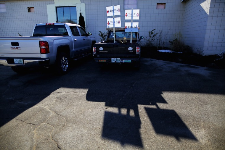Campaign signs stand in the bed of a pickup truck outside the Crossing Life Church where Sen. Ted Cruz (R-TX) held a campaign town hall meeting Feb. 2, 2016 in Windham, N.H. (Photo by Chip Somodevilla/Getty)