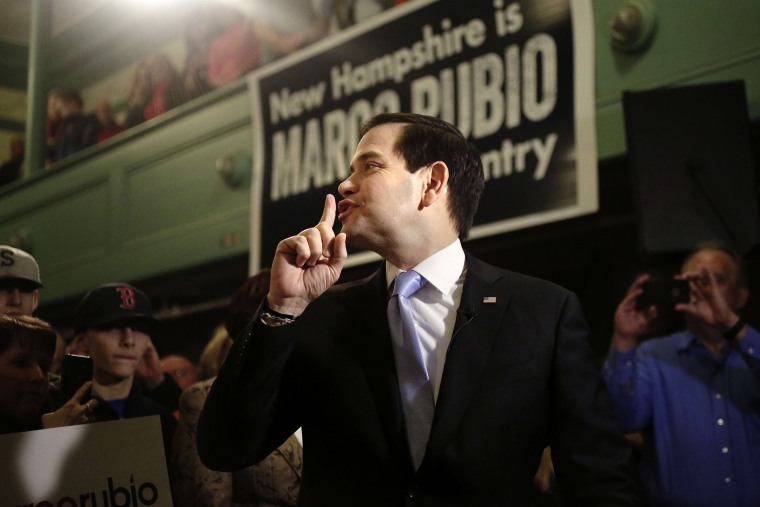 Republican presidential candidate, Sen. Marco Rubio, R-Fla., gestures toward the audience before a television interview before a campaign event, Feb. 2, 2016, at the town hall, in Exeter, N.H. (Photo by Steven Senne/AP)