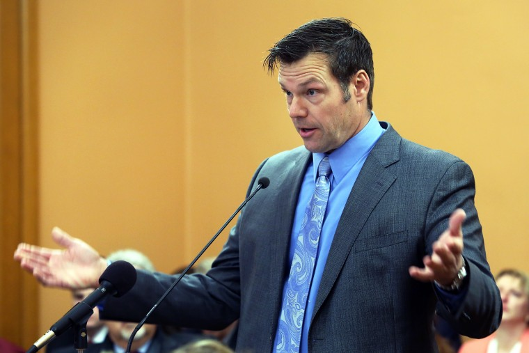 Speaking to the House Elections Committee, Secretary of State Kris Kobach said he has filed new voter fraud charges in three counties, Jan. 25, 2016. (Photo by Thad Allton/Topeka Capital-Journal/AP)