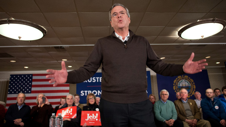 Republican presidential candidate Jeb Bush speaks at the Margate Resort on Feb. 3, 2016 in Laconia, N.H. Bush is campaigning in the lead up to the The New Hampshire primary, Feb. 9. (Photo by Matthew Cavanaugh/Getty)