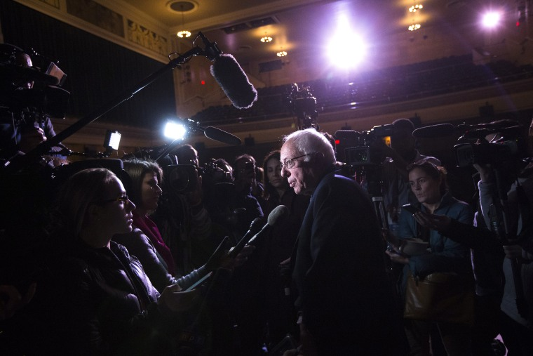 Democratic presidential candidate Sen. Bernie Sanders, I-Vt., speaks to the media during a campaign stop at The Colonial Theatre, Feb. 2, 2016, in Keene, N.H. (Photo by John Minchillo/AP)