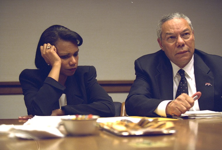Secretary of State Colin Powell and National Security Advisor Condoleezza Rice in the President's Emergency Operations Center in Washington in  the hours following the September 11, 2001 attacks in this U.S National Archives handout photo