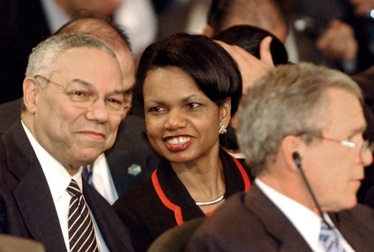 Then-Secretary of State Colin Powell and U.S. National Security Adviser Condoleezza Rice during the plenary session of the Special Summit of the Americas in Monterrey, Mexico, Jan. 13, 2004. (Photo by Jaime Puebla/AP)