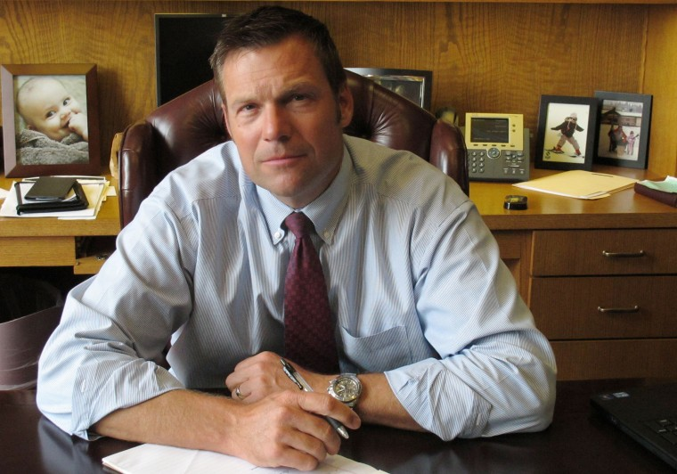 Kansas Secretary of State Kris Kobach in his Topeka, Kan., office, Aug. 1, 2013. (Photo by John Hanna/AP)