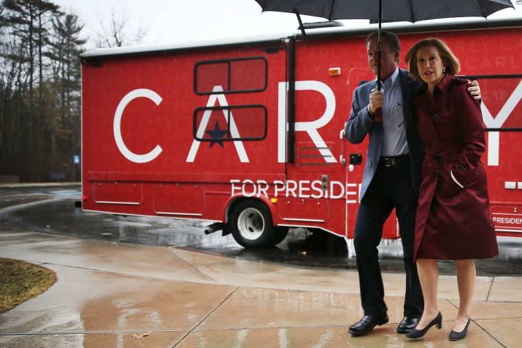 Republican presidential candidate Carly Fiorina and her husband Frank Fiorina arrive for a town hall on Feb. 3, 2016 in Stratham, N.H. (Photo by Joe Raedle/Getty)