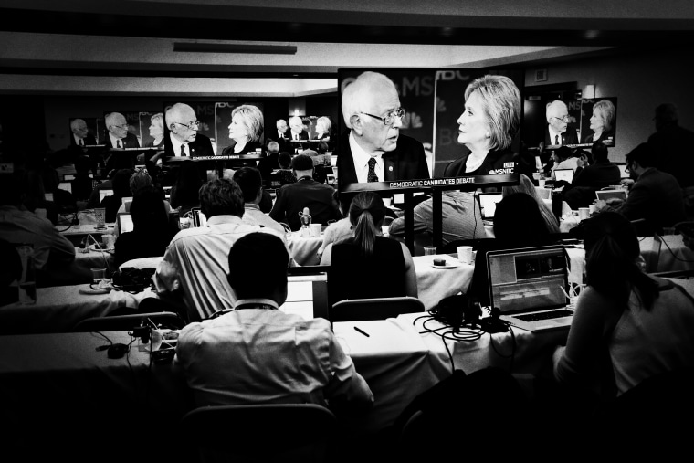 The media filing room at the Democratic presidential primary debate hosted by MSNBC at the University of New Hampshire on Feb. 4, 2016, in Durham, N.H.