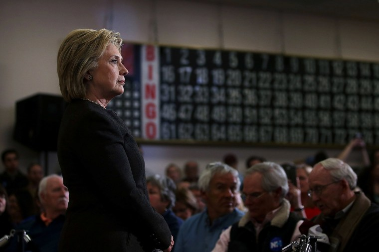 """Democratic presidential candidate former Secretary of State Hillary Clinton looks on during a """"get out the vote"""" event at Derry Boys and Girls Club on Feb. 3, 2016 in Derry, N.H. (Photo by Justin Sullivan/Getty)"""