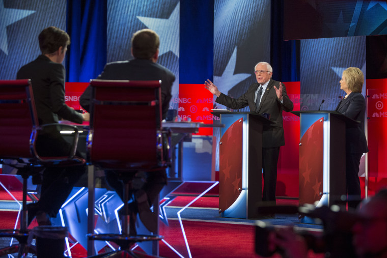 """Hillary Clinton and Bernie Sanders appear during the """"MSNBC Democratic Candidates Debate"""" on Feb. 4, 2016 at the University of New Hampshire. (Photo by Scott Eisen/MSNBC/NBCU Photo Bank/Getty)"""