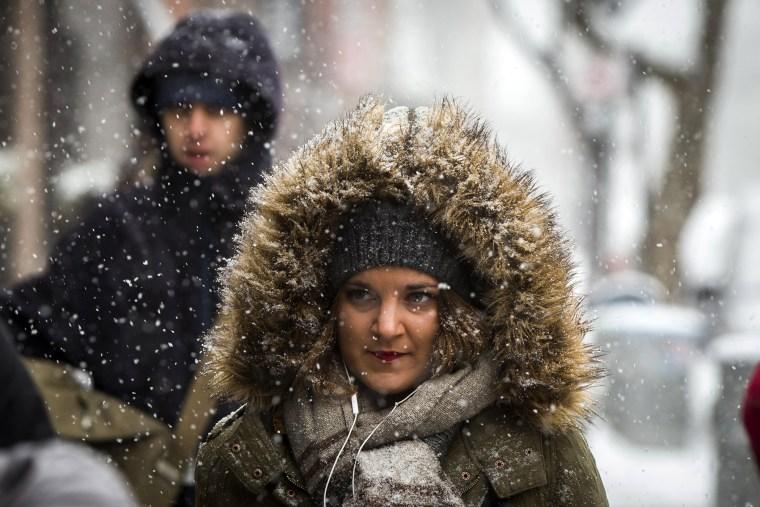 A pedestrian walks through a snow storm in New York, March 5, 2015. (Photo by Lucas Jackson/Reuters)