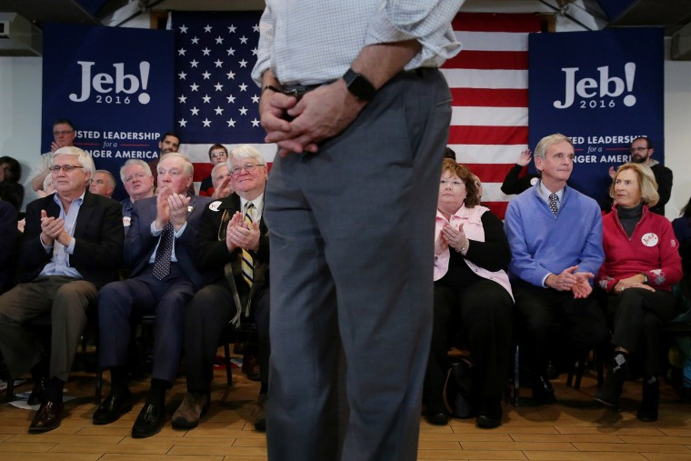 Supporters applaud for Republican presidential candidate Jeb Bush during a campaign town hall meeting at the Alpine Club Feb. 1, 2016 in Manchester, N.H. (Photo by Chip Somodevilla/Getty)