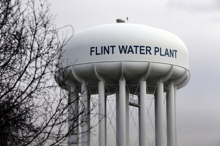 The Flint Water Plant tower is seen, Feb. 5, 2016 in Flint, Mich. (Photo by Carlos Osorio/AP)