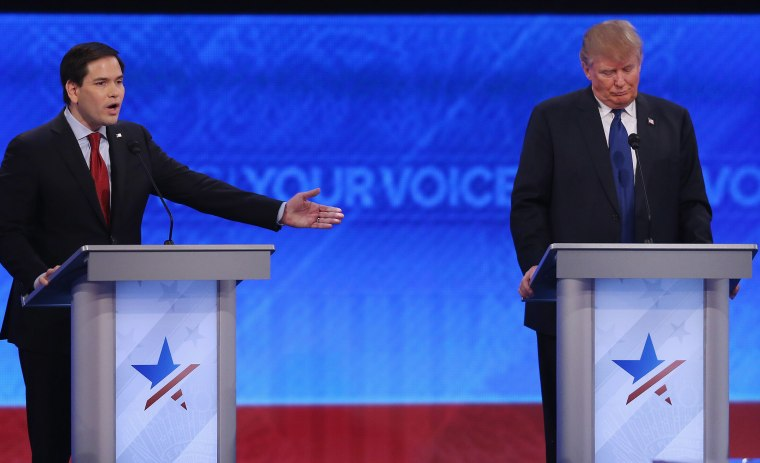 Republican presidential candidates Sen. Marco Rubio and Donald Trump participate in the Republican presidential debate at St. Anselm College, Feb. 6, 2016 in Manchester, N.H. (Photo by Joe Raedle/Getty)