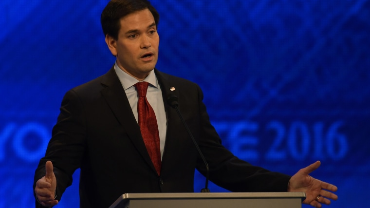 Republican presidential candidate Marco Rubio speaks during the Republican Presidential Candidates Debate, Feb. 6, 2016 at St. Anselm's College Institute of Politics in Manchester, N.H. (Photo by Jewel Samad/AFP/Getty)