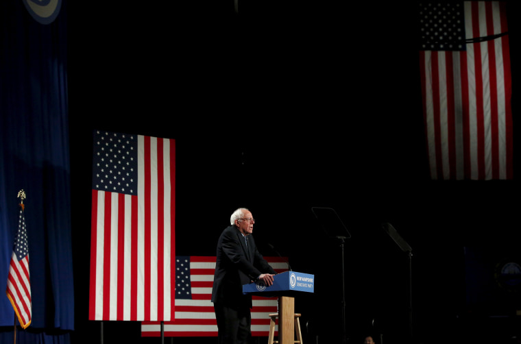 Democratic presidential candidate Bernie Sanders speaks at the 2016 McIntyre-Shaheen 100 Club Celebration at the Verizon Wireless Arena in Manchester, N.H., Feb. 5, 2016. (Photo by Shannon Stapleton/Reuters)