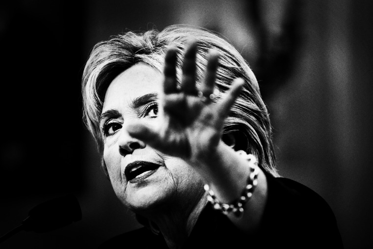 Former Secretary of State and Democratic presidential candidate Hillary Clinton testifies before the House Select Committee on Benghazi on Capitol Hill in Washington, D.C., Oct. 22, 2015. (Photo by Mark Peterson/Redux for MSNBC)