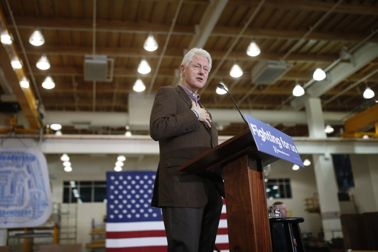 Former President Bill Clinton speaks at a rally for presidential hopeful Hillary Clinton at the United Brotherhood of Carpenters International Training Center, Feb. 5, 2016, in Las Vegas, Nev. (Photo by John Locher/AP)