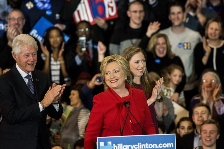 Former Secretary of State Hillary Clinton, with her husband former President Bill Clinton and daughter Chelsea Clinton, Feb. 1, 2016. (Photo by Melina Mara/The Washington Post/Getty)
