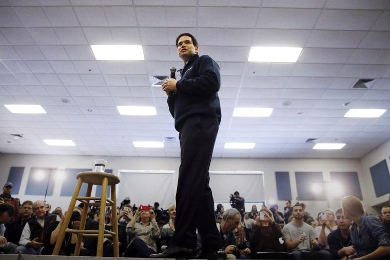 Republican presidential candidate Sen. Marco Rubio, R-Fla. speaks during a campaign stop, Feb. 7, 2016, in Hudson, N.H. (Photo by Matt Rourke/AP)