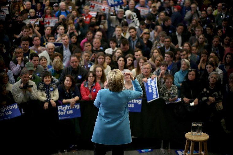 Democratic presidential candidate former Secretary of State Hillary Clinton speaks at Manchester Community College on Feb. 8, 2016 in Manchester, N.H. (Photo by Justin Sullivan/Getty)